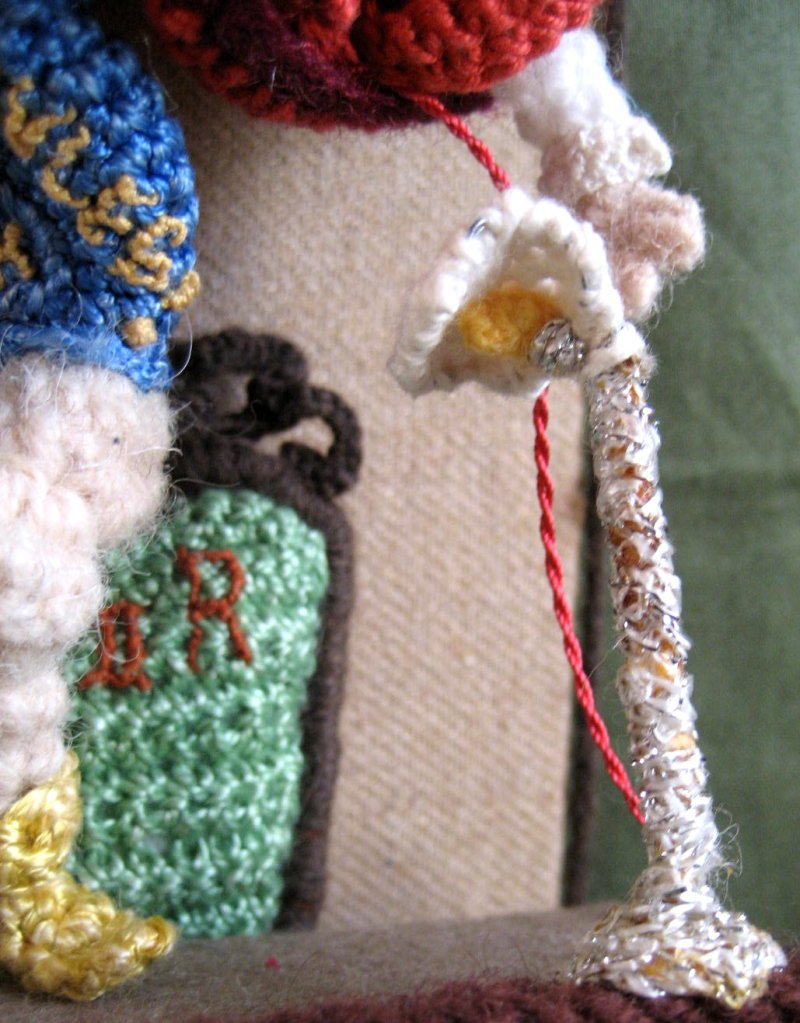 theinfill Medieval, Tudor, Jacobean dolls house blog - Hogepotche Hall –Hodgepodge Hall – crocheted figures in mini scenes - Judges Rules OK