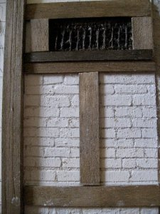 theinfill Medieval, Tudor, Jacobean dolls house blog - Hogepotche Hall –Hodgepodge Hall – carving out and painting white brickwork in card
