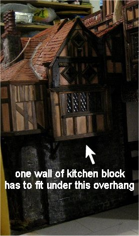 theinfill Medieval, Tudor, Jacobean dolls house blog - Hogepotche Hall –Hodgepodge Hall – overhang of part of great hall