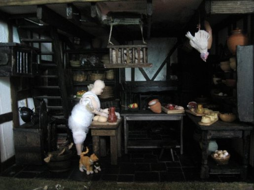 theinfill Medieval, Tudor, Jacobean dolls house blog - Hogepotche Hall –Hodgepodge Hall - long view of new arrangements