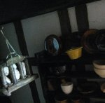 theinfill dolls house blog Hogepotche Hall –Hodgepodge Hall - a Medieval, Tudor, Jacobean dolls house blog - Duncan White earthenware pots and bread cradle