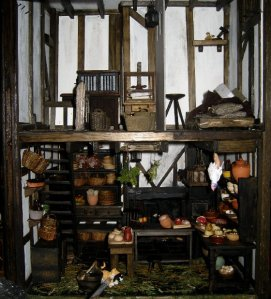 theinfill dolls house blog Hogepotche Hall –Hodgepodge Hall - a Medieval, Tudor, Jacobean dolls house blog - stairs up from main kitchen to linen room 1