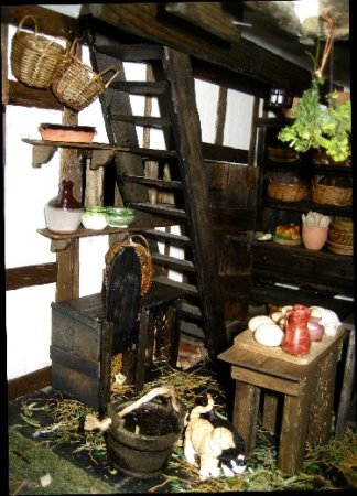 theinfill dolls house blog Hogepotche Hall –Hodgepodge Hall - a Medieval, Tudor, Jacobean dolls house blog - stairs up from main kitchen to linen room