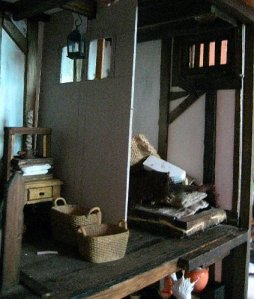 theinfill dolls house blog Hogepotche Hall –Hodgepodge Hall - a Medieval, Tudor, Jacobean dolls house blog - linen room space and first cubby-hole for sleeping in