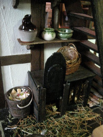 theinfill dolls house blog Hogepotche Hall –Hodgepodge Hall - a Medieval, Tudor, Jacobean dolls house blog - kitchen chicken coop and slop bucket