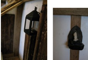 theinfill dolls house blog Hogepotche Hall –Hodgepodge Hall - a Medieval, Tudor, Jacobean dolls house blog - second loft bedroom hiding wiring and lighting room