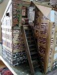 theinfill dolls house blog Hogepotche Hall –Hodgepodge Hall - a Medieval, Tudor, Jacobean dolls house blog - storeroom stairs to loft