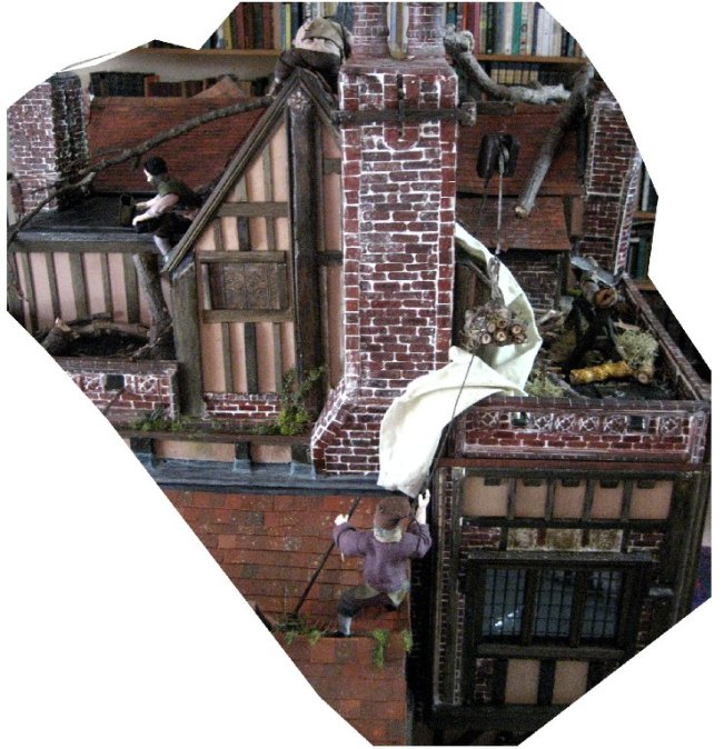 theinfill dolls house blog Hogepotche Hall –Hodgepodge Hall - a Medieval, Tudor, Jacobean dolls house blog - Heidi Ott male figure Sailor Bill in group