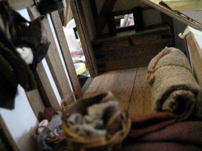 theinfill dolls house blog Hogepotche Hall –Hodgepodge Hall - a Medieval, Tudor, Jacobean dolls house blog - second loft bedroom