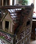 theinfill dolls house blog Hogepotche Hall –Hodgepodge Hall - a Medieval, Tudor, Jacobean dolls house blog - storeroom tiled roof complete