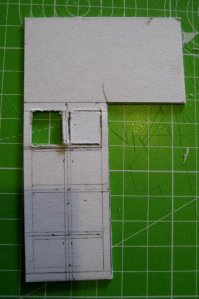 theinfill dolls house blog Hogepotche Hall –Hodgepodge Hall - a Medieval, Tudor, Jacobean dolls house blog - reshaping an Deco house -windows for the front