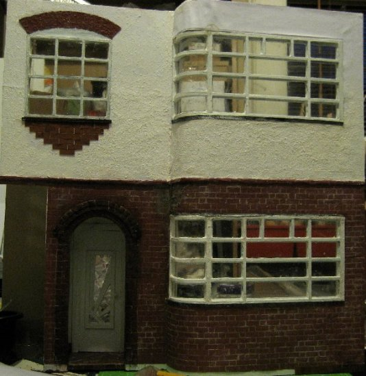 theinfill dolls house blog Hogepotche Hall –Hodgepodge Hall - a Medieval, Tudor, Jacobean dolls house blog - reshaping an Deco house facade nearing completion