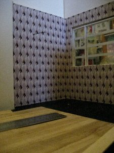 theinfill dolls house blog Hogepotche Hall –Hodgepodge Hall - a Medieval, Tudor, Jacobean dolls house blog - reshaping an Deco house - sitting room wallpaper
