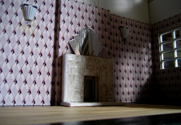 theinfill dolls house blog Hogepotche Hall –Hodgepodge Hall - a Medieval, Tudor, Jacobean dolls house blog - reshaping an Deco house - sitting room firplace and over mirror