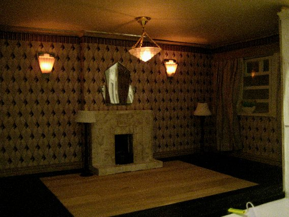 theinfill dolls house blog Hogepotche Hall –Hodgepodge Hall - a Medieval, Tudor, Jacobean dolls house blog - reshaping an Deco house - sitting room lighting