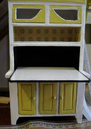 theinfill dolls house blog 1930s Deco House, Hogepotche Hall –Hodgepodge Hall - a Medieval, Tudor, Jacobean dolls house blog - cut and hacked kitchen dresser from Streets Ahead