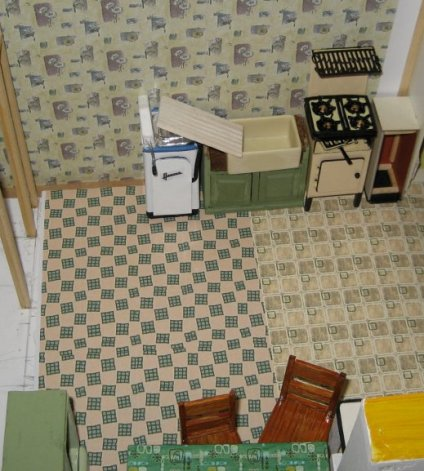 theinfill art deco dolls house blog, theinfill dolls house blog, theinfill 1930s-50s Deco House, Hogepotche Hall –Hodgepodge Hall - Medieval Tudor Jacobean dolls house blog - kitchen lino