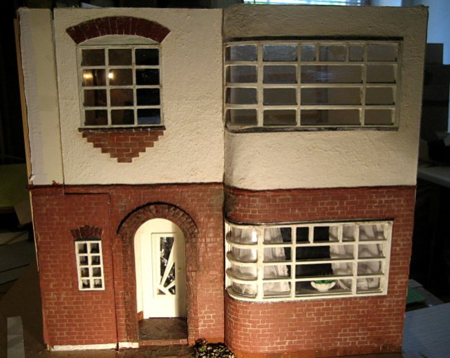 theinfill art deco dolls house blog, theinfill dolls house blog, theinfill 1930s-50s Deco House, Hogepotche Hall –Hodgepodge Hall - Medieval Tudor Jacobean dolls house blog - external view when new walls in