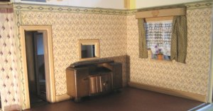 theinfill art deco dolls house blog, theinfill dolls house blog, theinfill 1930s-50s Deco House, Hogepotche Hall –Hodgepodge Hall - Medieval Tudor Jacobean dolls house blog - finishing edges - dining room walls and woodwork