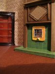 theinfill art deco dolls house blog, theinfill dolls house blog, theinfill 1930s-50s Deco House, Hogepotche Hall –Hodgepodge Hall - Medieval Tudor Jacobean dolls house blog - finishing edges - dining room hearth