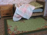 theinfill art deco dolls house blog, theinfill dolls house blog, theinfill 1930s-50s Deco House, Hogepotche Hall –Hodgepodge Hall - Medieval Tudor Jacobean dolls house blog - wallpaper, rugs and bedspread