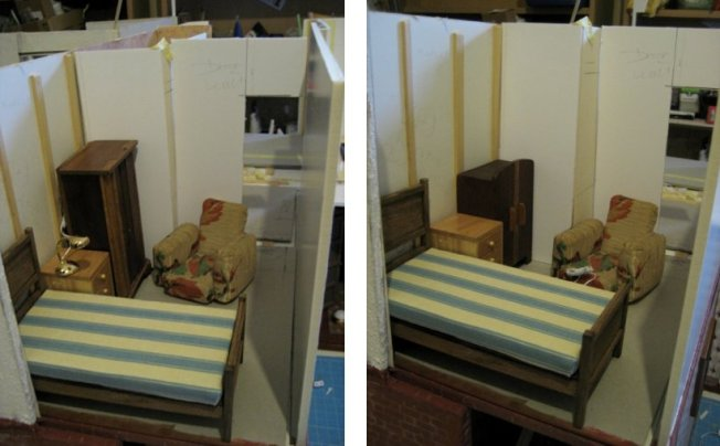 theinfill art deco dolls house blog, theinfill dolls house blog, theinfill 1930s-50s Deco House, Hogepotche Hall –Hodgepodge Hall - Medieval Tudor Jacobean dolls house blog - blocking out room furniture