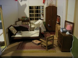 theinfill art deco dolls house blog, theinfill dolls house blog, theinfill 1930s-50s Deco House, Hogepotche Hall –Hodgepodge Hall - Medieval Tudor Jacobean dolls house blog - back bedroom for young boys
