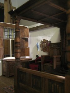 theinfill dolls house blog, theinfill Hogepotche Hall –Hodgepodge Hall - Medieval Tudor Jacobean dolls house blog - Arnolfini style bedroom