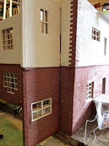theinfill art deco dolls house blog, theinfill dolls house blog, theinfill 1930s-50s Deco House, Hogepotche Hall –Hodgepodge Hall - Medieval Tudor Jacobean dolls house blog - back of house reveal