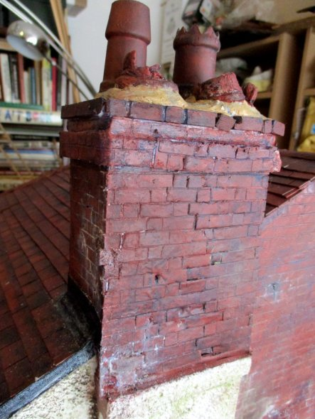 theinfill art deco dolls house blog, theinfill dolls house blog, theinfill 1930s-50s Deco House, Hogepotche Hall –Hodgepodge Hall - Medieval Tudor Jacobean dolls house blog - brickwork and chimneys
