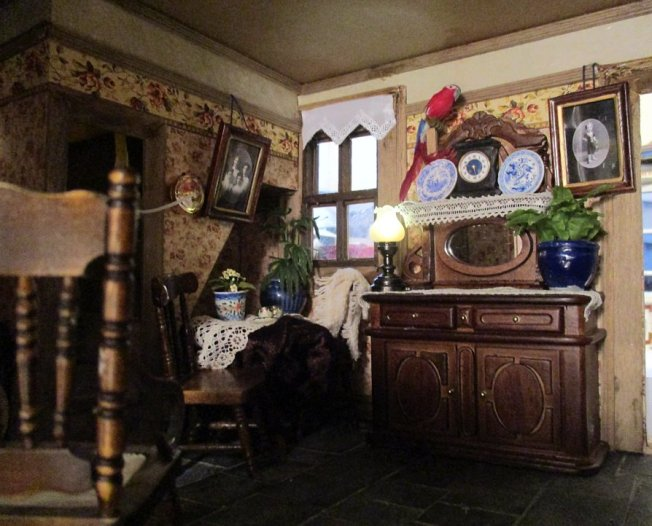 theinfill blog, theinfill dolls house blog – scratch build Victorian and Edwardian scenes, Victoria Villas - kitchen living room